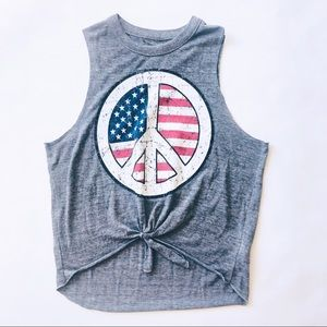 Chaser Peace Sign Muscle Tee Graphic Tank Sz S